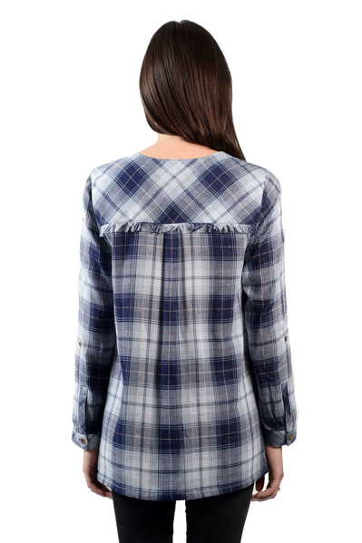 Picture of PLAID/ STRIPE DOUBLE FACE BTN UP SHIRT WITH SLITS