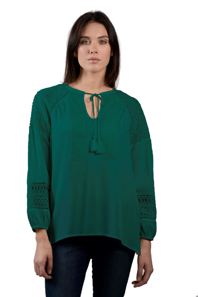 Picture of EYELET INSERT WOVEN BLOUSE
