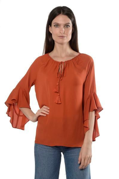 Picture of TIE NECK RUFFLE SLEEVE BLOUSE
