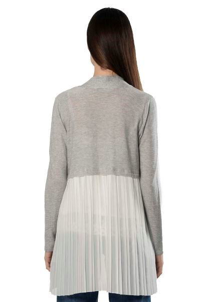 Picture of LS SWEATER CARDIGAN WITH PLEATED WOVEN BACK