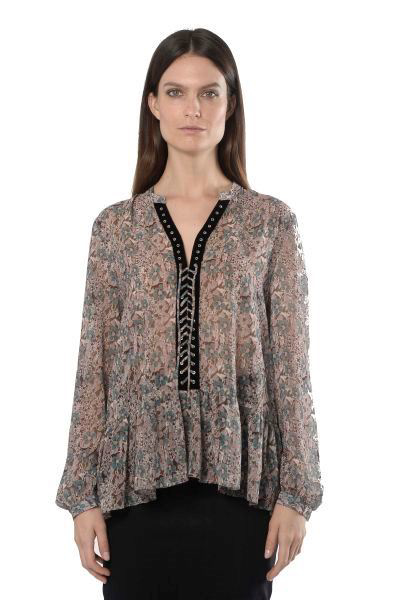 Picture of LACE-UP PRINTED BLOUSE