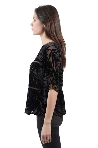 Picture of PALM LEAF VELVET BURNOUT SHORT SLEEVE TOP WITH LACE TRIM