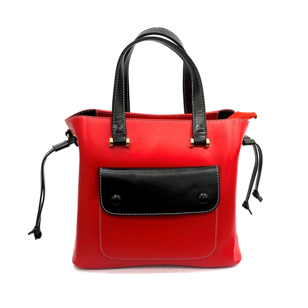 Picture of FAUX LEATHER  TWO TONED TOP HANDLE TOTE
