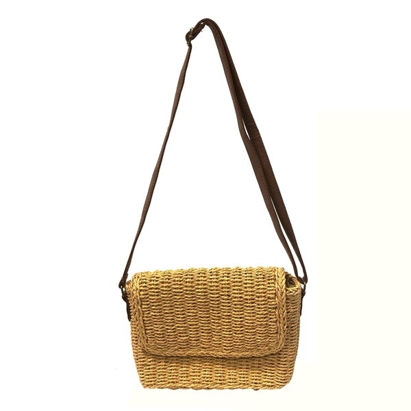 Picture of WHEAT STRAW BAG WITH FAUX LEATHER STRAP