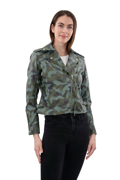 Picture of PRINTED FAUX LEATHER MOTO JACKET