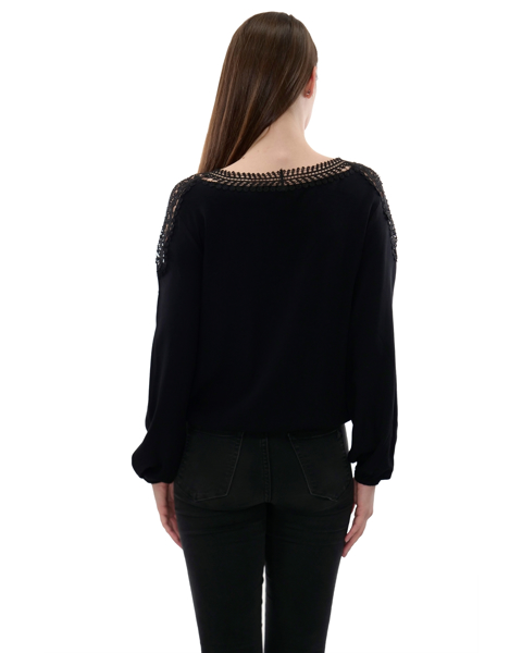 Picture of EMBROIDERY AND LACE TRIM WOVEN TOP