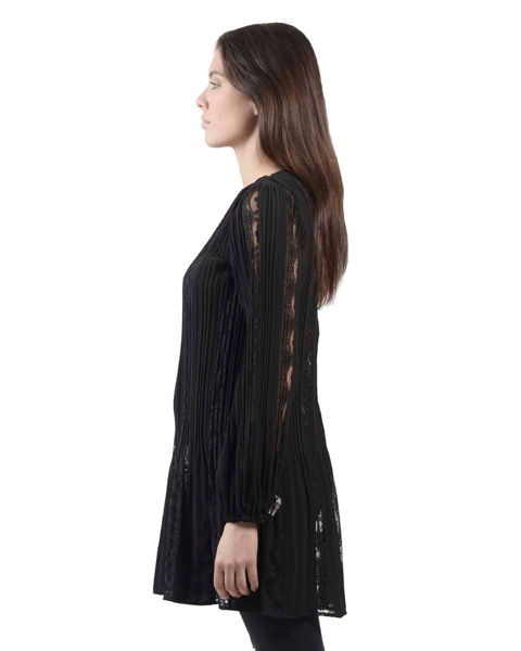Picture of LONG SLEEVE PLEATED DRESS WITH LACE INSERT