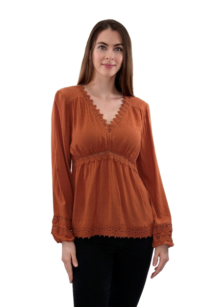 Picture of CROCHET LACE TRIM WOVEN TOP