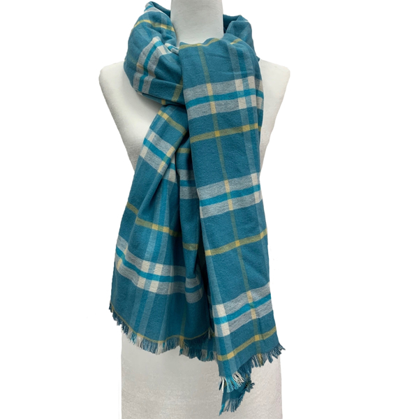Picture of ANNA CAI 100% SILK PLAID SCARF WITH FRINGE