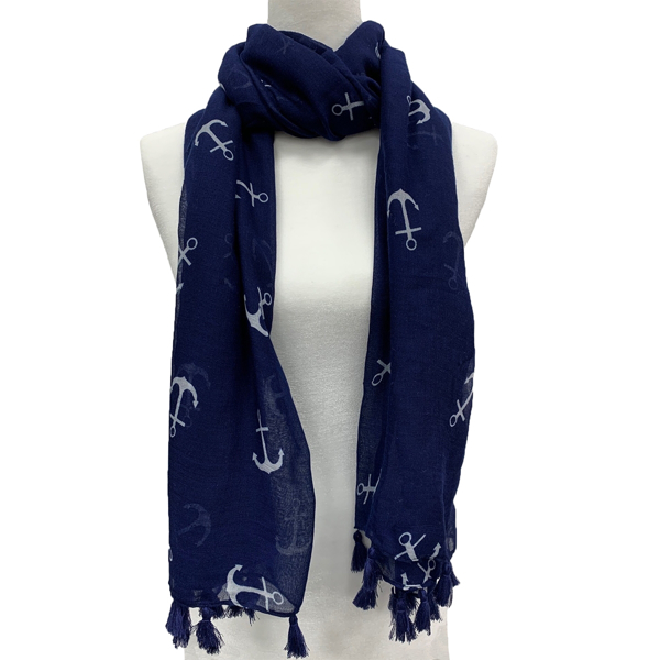 Picture of ANNA CAI INDIGO BLUE ANCHOR SCARF WITH FRINGES